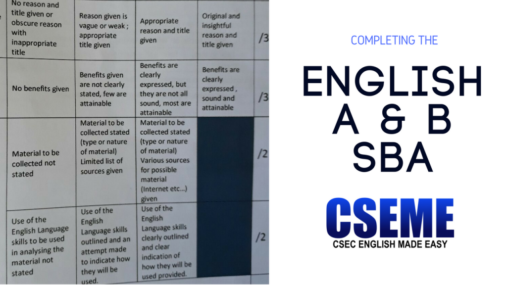 Csec english made easy completing the csec english a and b sba fandeluxe Images